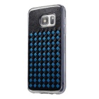 Woven Pattern Back Cover for Samsung Galaxy S7 Edge - Black + Blue