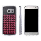 Woven Pattern Back Cover for Samsung Galaxy S7 - Black + Red