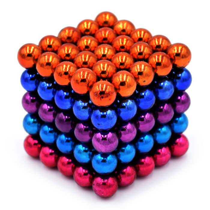 5mm Magnetic Beads Puzzle Toy - Orange + Multi-Colored (125PCS)