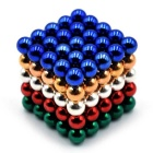 5mm Magnetic Beads Puzzle Toy - Red + Golden + Multi-Colored (125PCS)