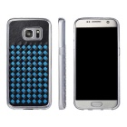 Woven Pattern Back Cover for Samsung Galaxy S7 - Black + Blue
