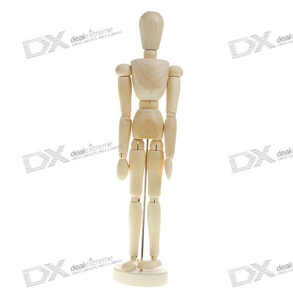 "Wooden 14-Joint Moveable Manikin Model with Display Base (12"" Size)"