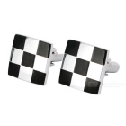 Men's Checkered Pattern Cufflinks - Silver White + Black (Pair)