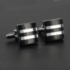 Black Stripes Design Square Men's Cufflinks - Silver + Black (Pair)
