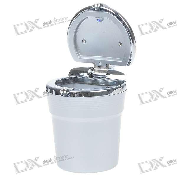 Cup Shaped Ashtray with Blue LED Light for Car (1*CR2032)