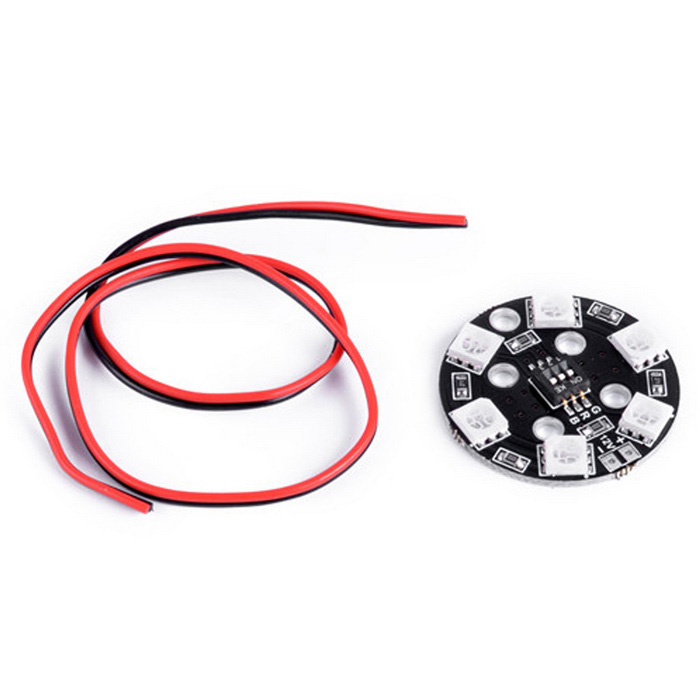 RGB LED X6/12V Round 7 Colors Lamp Panel - Black