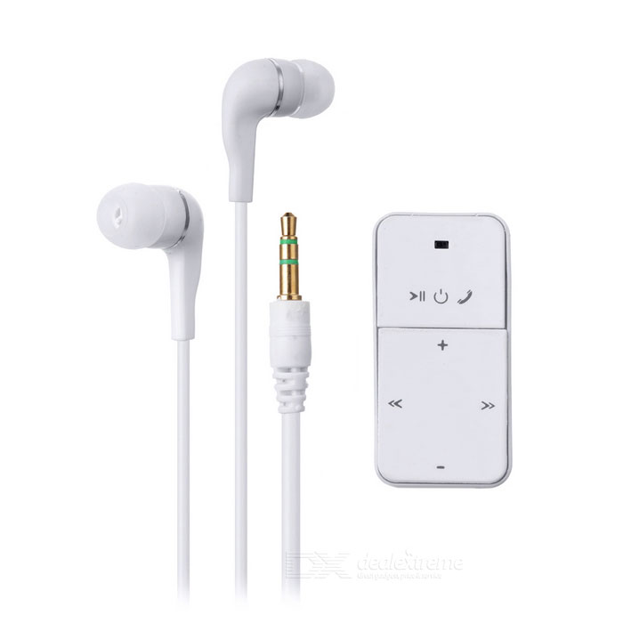 Wireless Stereo Dual 3.5mm Bluetooth Headset Music Receiver - White