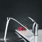 F-1631 360° Rotatable Chrome Finish Brass Sink Faucet - Silver