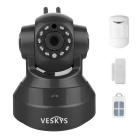 VESKYS 1.0MP HD wireless linkage alarme câmera IP set - preto (plug uk)
