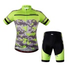 WOSAWE BC450-00M Cycling Short Jersey Top + Pants - Green+Black (M)