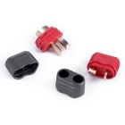 Male & Female T Plugs Connectors with Sheaths - Black + Red (Pair)