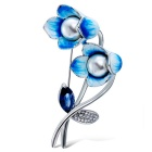 Xinguang Women's Blue Paint High-Grade Pearl Brooch - White + Blue