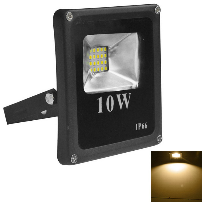 Jiawen 10W 900lm IP66 varm hvit LED Floodlight - Svart (AC 220V)
