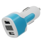 Universal Dual USB 3.1A Car Charger w/ Voltage Display - White + Blue