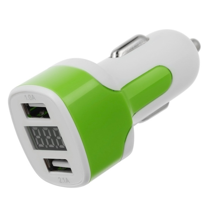 Universal Dual USB 3.1A Car Charger w / Voltage Display - Branco + Verde