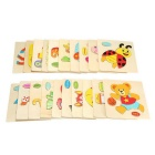 Fish Shaped Puzzle Wooden Blocks Cartoon Toy - Yellow + Multicolor