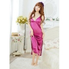 Women's Sexy Spaghetti Straps Side Slits Nightdress - Purplish Red