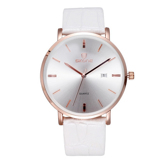 SKONE 508401 Unisex Business Watch w/ Calendar - Rose Gold + WhiteQuartz Watches<br>Form  ColorRose Gold + WhiteQuantity1 DX.PCM.Model.AttributeModel.UnitShade Of ColorWhiteCasing MaterialAlloyWristband MaterialPU leatherSuitable forAdultsGenderUnisexStyleWrist WatchTypeFashion watchesDisplayAnalogMovementQuartzDisplay Format12 hour formatWater ResistantNODial Diameter4 DX.PCM.Model.AttributeModel.UnitDial Thickness0.79 DX.PCM.Model.AttributeModel.UnitWristband Length24 DX.PCM.Model.AttributeModel.UnitBand Width1.82 DX.PCM.Model.AttributeModel.UnitBattery1 * S377Packing List1 * Watch<br>