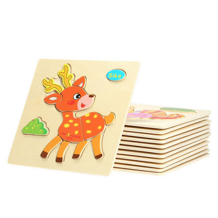 Sika Shaped Puzzle Wooden Blocks Cartoon Spielzeug - Gelb + Multicolor