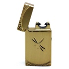 USB Exquisite Carving Electric Arc Cigarette Lighter - Golden