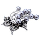 Xinguang Mujer Retro Noble Crystal Pearl Broche - Blanco + Negro