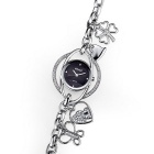 WeiQin 377701 Women's Hollow-out Bracelet Watch - Silver + Black