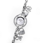 WeiQin 377702 Women's Hollow-out Bracelet Watch - Silver + White