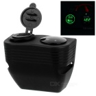 Waterproof Digital Voltmeter + 2.1A/1.0A Dual USB Charger - Green LED