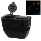 Waterproof Digital Voltmeter + 2.1A/1.0A Dual USB Charger - Red LED