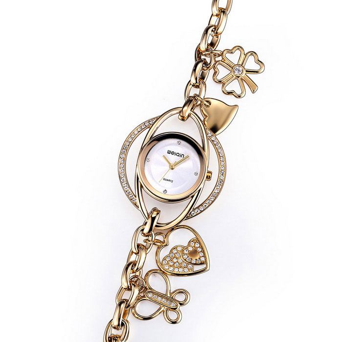 WeiQin 377704 Women's Hollow-out Bracelet Watch - Golden + White
