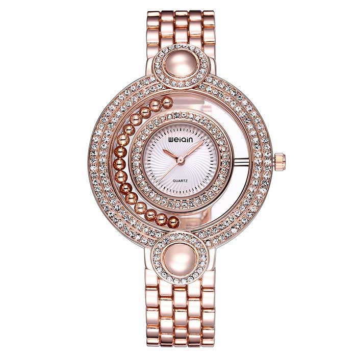 WeiQin 377604 Women's Analog Quartz Wrist Watch - Rose Gold + White