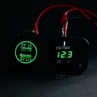 Car Motorcycle Green LED Light Dual USB Charger + Voltmeter - Black