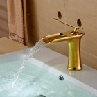 Modern Style Single Handle Single Hole Bathroom Sink Faucet - Golden