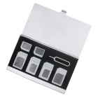 Portable Aluminum 4 SIM +2 Micro SIM + 1 Pin Card Storage Box - Silver
