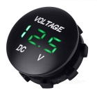 "Car Motorcycle Water Resistant 1"" Green LED Light Voltmeter - Black"