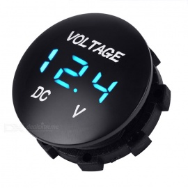 "Car Motorcycle Water Resistant 1"" Red LED Light Voltmeter - Black"