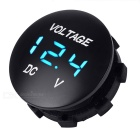 "Car Motorcycle Water Resistant 1"" Blue LED Light Voltmeter - Black"