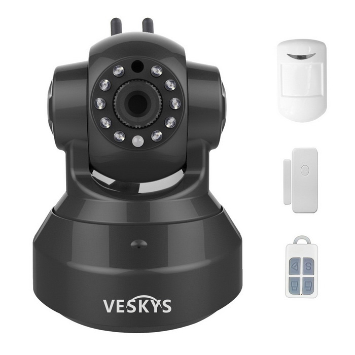 VESKYS 1.0MP HD Wireless Linkage Alarm IP Camera - Black + White (EU)