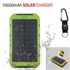 SUNGZU 8000mAh 5V 1A / 2A Dual USB Solar Power Bank - Black + Green