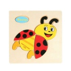 Beetle Shape Puzzle Wooden Blocks Cartoon Toy - Yellow + Multi-Colored