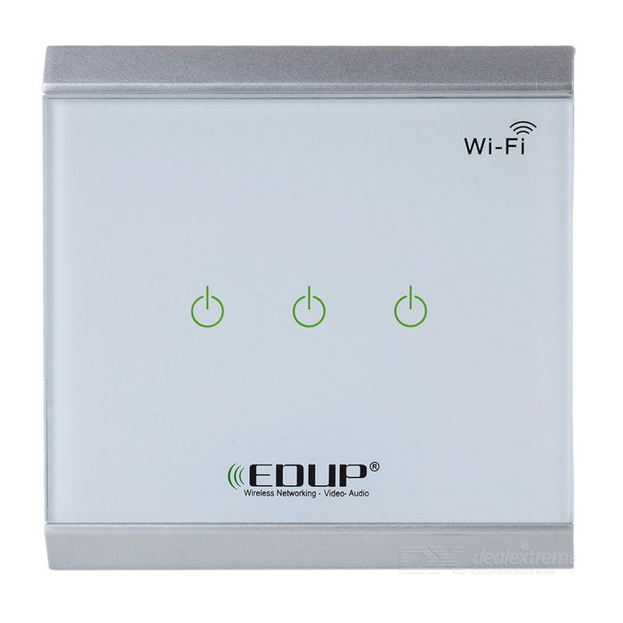 EDUP EP-3713 Wi-Fi Switch Touch / Phone APP Control 3 Buttons - White