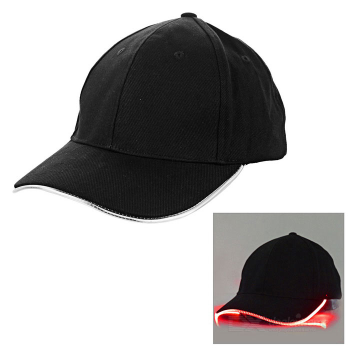Outdoor Luminous Green LED Flashing Sports Cap - Black + Red