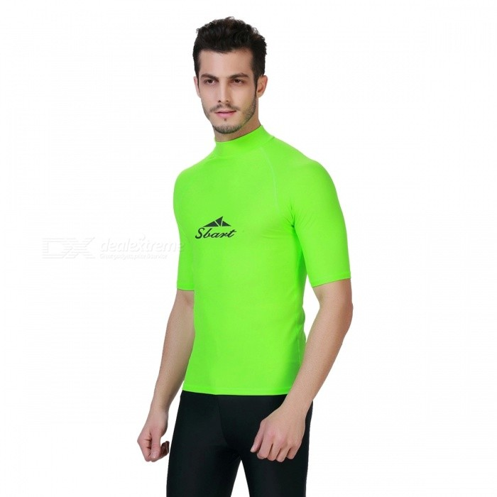 Maniche Uomo sbart Breve immersioni subacquee Rash Guard Top - verde (XL)