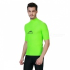Sbart Men's Short Sleeves Diving Rash Guard Top - Green (XXL)
