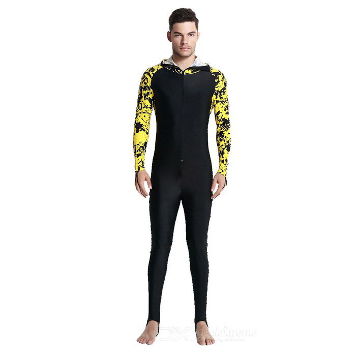 Sbart Unisex Long-Sleeve Hooded Dive Skin - Black + Yellow (XL)