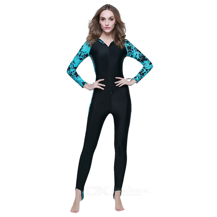 Sbart Unisex Long-Sleeve Diving Hooded Dive Skin - Black + Blue (XL)Form  ColorBlack + BlueSizeXLModel-Quantity1 DX.PCM.Model.AttributeModel.UnitMaterialChinlon + spandexShade Of ColorBlackChest Girth74 DX.PCM.Model.AttributeModel.UnitCertificationCEPacking List1 * Dive skin<br>
