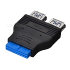 CY U3-028 2-Port USB 3.0 Female to Motherboard 20pin Female Adapter