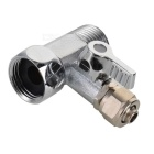 "Up / Down Inflowing 1/2"" to 1/4"" Copper 3-Way Ball Valve - Silver"