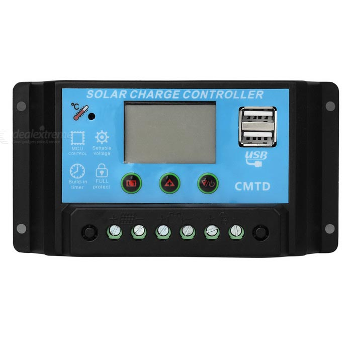 20A 12V/24V Solar Charge Controller with LCD Display Auto RegulatorSolar Powered Gadgets<br>Form  ColorBlackMaterialPlasticQuantity1 DX.PCM.Model.AttributeModel.UnitPower120 DX.PCM.Model.AttributeModel.UnitWorking Voltage   12/24 DX.PCM.Model.AttributeModel.UnitWorking Current20 DX.PCM.Model.AttributeModel.UnitOther FeaturesDisplay 3.5 inchesPacking List1 * Solar Charge Controller1 * User Manual (English)<br>