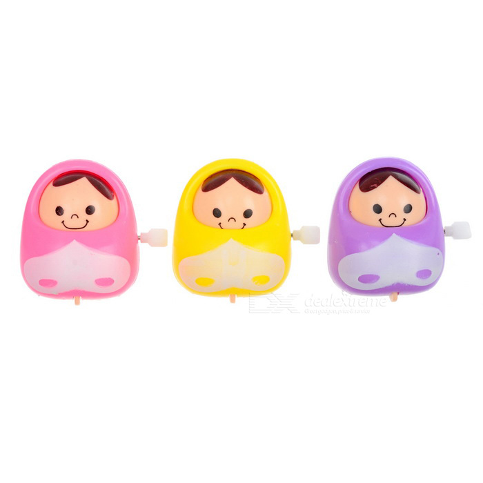 Trommel Roly-Poly Wind-up nickte Puppen - lila + gelb (3PCS)